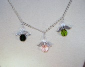 Swarovski Crystal Jewelry - Mother or Grandmother of 3 Little Angels Necklace - Made to Order
