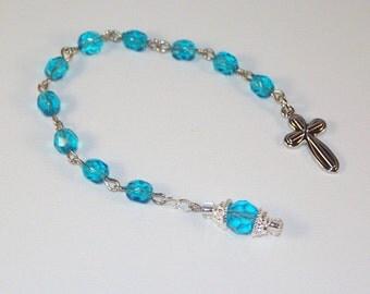 Birthstone Pocket Rosary - Aquamarine / March