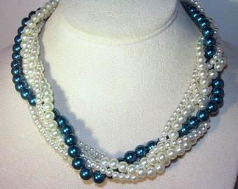 Pearl Jewelry - Bridal, Wedding, Special Occasion - Glass Pearls - 5 Strand - Shown in Ivory and Dark Teal - Available in All Colors