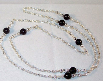 Gemstone and Swarovski Crystal Jewelry - Black Agate and Crystal Necklace