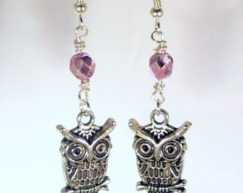 Pewter Owls and Pink Silver Crystal Earrings