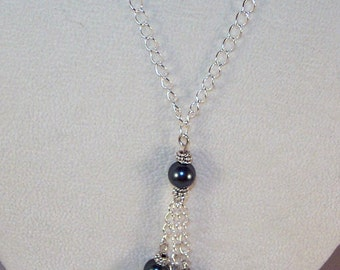 Swarovski Pearls Lariat Necklace - Tahitian Blue