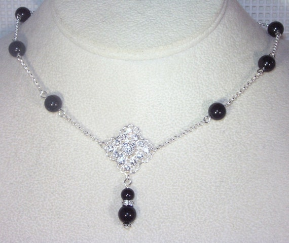 Swarovski Pearl & Crystal Bridal Jewelry - Single Drop Necklace with Swarovski Diamond Center - Shown in Mystic Black - All Pearl Colors