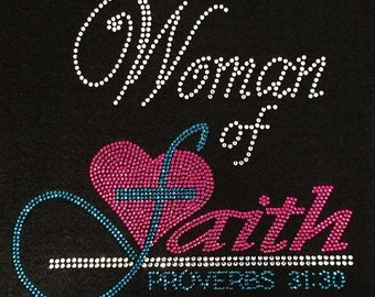 Rhinestone Woman of Faith T-Shirt - Bling Shirt