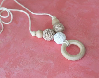 Nursing necklace Teething wooden ring petit necklace Eco friendly Teething necklace Ready to ship!