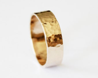 Ring - Hammered 14K Gold Filled Ring - Gold Wedding Ring - Promise Ring - Thick Gold Band - Textured - His and Hers Wedding Band - Unisex