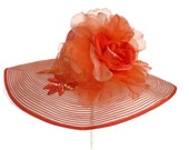 """Women's Kentucky Derby Hat, Spring Fashion Easter Hat, Sinamay Straw Hat, Garden and Tea Party Hat in Orange is a """"Tangerine Treasure"""""""