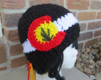 Colorado Flag Beanie - Pot Leaf Colorado Hat - Pot leaf hat - Cannabis Colorado - Colorado Native