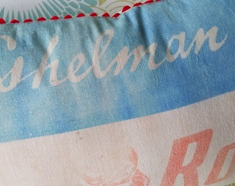 Red Rose FEED SACK PILLOW, Farmhouse Chic,Country Accent Pillow,Primitive Farm Pillow,Blue Red Cream Feed Sack,Eshelmans Poultry Feed,Pillow
