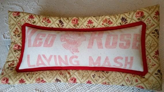 Redrose Laying Mash Feed Sack Pillow Repurposed Feed