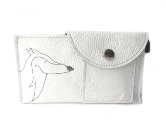 phone wallet white leather, fox
