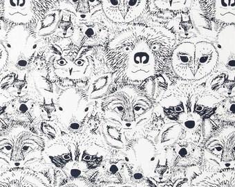Forest Animal Shower Curtain, Cabin, Lodge Decor, Woodland, Nature Theme Decor, Rustic Decor, Black White, Animal Collage Shower Curtain