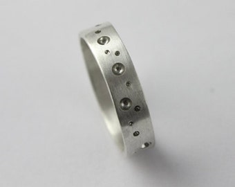Recycled Satin Silver Ring with Drilled Details - 4mm