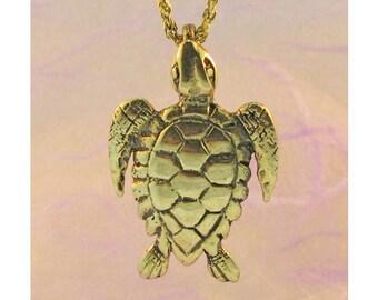 Sea Turtle Necklace Gold Sea Turtle Necklace Sea Turtle Charm Sea Turtle Pendant Gold Turtle Island Jewelry