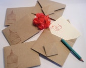 10 Custom Origami Envelopes KRAFT PAPER Flash Drive Envelopes / Thumb Drive Packaging / USB Memory Stick Holders. Wedding Party Favors.