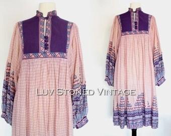 RESERVED l 70s Vintage Kaiser Cotton Gauze Indian Pakistan Boho Hippie Aztec Festival Caftan Dress Midi Tent Gypsy   ML   1035.7.9.15