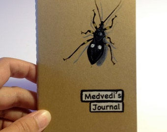 Personalized Journals, Your Favorite Bug Hand Painted, Moleskine Pocket Journal