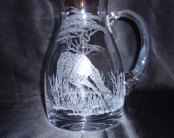 Drinking Giraffe, Water Pitcher, Hand Carved Glass, Etched Glass, African Animals, Home Decor, Gift Item, Wedding Gift, Signed by the Artist