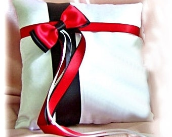Red and black wedding pillow.  Wedding decorations, ring bearer pillow.