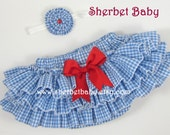 Blue Gingham with Bow Color of Your Choice  Sassy Pants Ruffle Diaper Cover Bloomer
