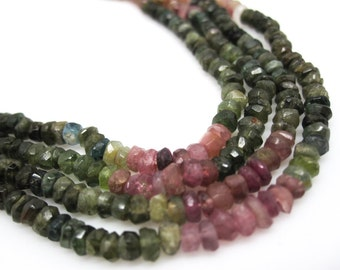 Watermelon Tourmaline Beads, 4mm, Faceted Rondelles, SKU 4478A