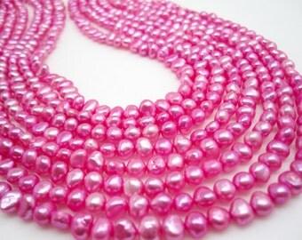 Pink Freshwater Pearls Beads, Pink Pearls, Potato Shape, 5mm x 7mm, SKU 4673
