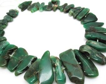 Green Chrysoprase Beads, Chrysoprase Sticks, Free form shape, Australian Chrysoprase, SKU 4687