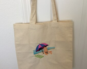 BEACH designs  Machine Embroidered COTTON TOTES