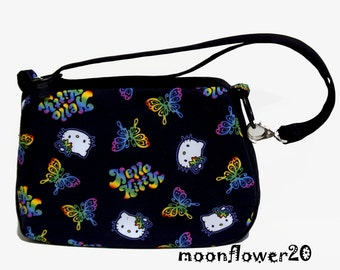 Black Hello Kitty Fabric Purse In Rainbow Colors With Three Way Strap