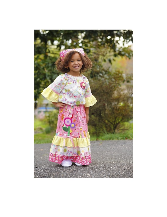 Pink Girls Maxi Outfit, Little Girls Dresses,Girls Long Dress, Birthday Outfit,  Girls Peasant Top, Toddler Dress, sizes  2T 3 4 5 6 7 8