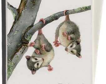 Playful Possums Greeting Card by Tracy Lizotte