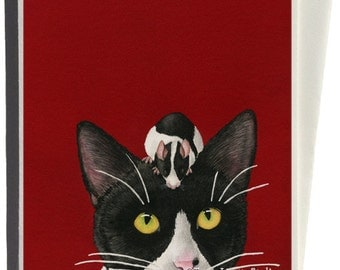 Black White Red All Over Greeting Card by Tracy Lizotte