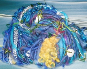 Handspun Art Yarn / Mermaids Garden  / Blue green Fantasy yarn by Fiber Artist GERRY