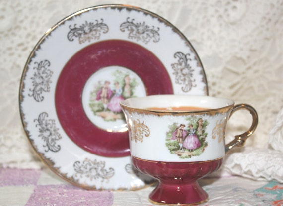 Vintage Tea Cup Soy Wax Candle, Homemade, YOU CHOOSE SCENT, Hand Poured Collectible Empress China Burgandy White & Gold Cup and Saucer Set