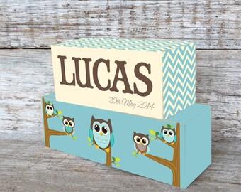 Personalized Wooden Name Blocks Custom Made Aqua Chevron Owl