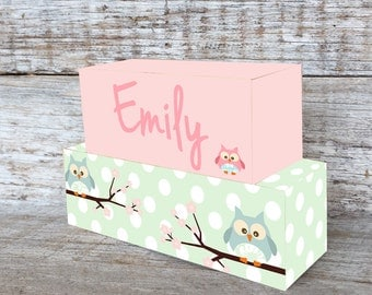 Personalized Wooden Name Blocks Custom Made Pink Owl