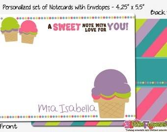 "Ice Cream Note Cards - Set of Personalized Note Cards - 4.25"" x 5.5"" - Double-Sided Thank you Cards - Children Stationery - Kids Notecards"