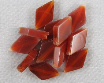 Red Agate 18mm x 10mm Flat Diamond Beads - 12 pieces #H9