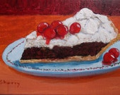 Food Art, Cherry Dessert Painting, Painting Of Dessert, Pastry Still Life, Cake Lover, Sweet Desserts, Food Painting, Acrylic Painting
