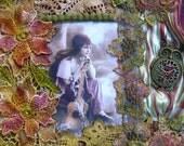 Handbag,  Gypsy lady embellished hand dyed lace cotton purse