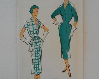 Vintage 50s Slim Dress Pattern New York 1226 Size 16 Bust 34 UNCUT