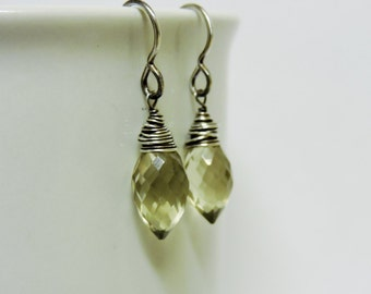 Microfaceted Lemon Quartz Dainty Marquise Wire Wrapped Earrings