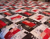 King Size Quilt / Black White Red Quilt / King Bed Quilt