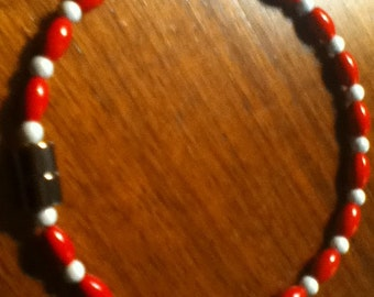 Red and White Totally Magnetic Anklet