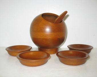 Vintage Sphere Nut Serving Set Mid Century Danish Modern Milbern Round Deco