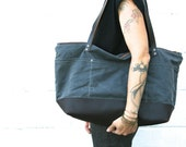 Waxed Canvas and Leather Overnight Bag or Unisex Diaper BAg