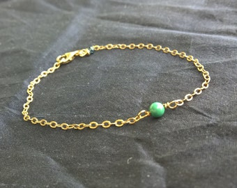 Turquoise Bead Gold Sterling Silver Bracelet