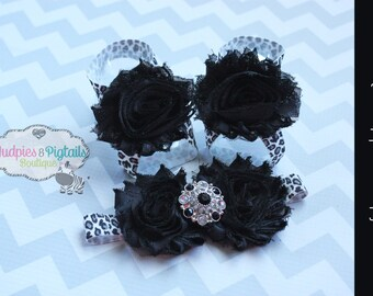 Barefoot sandals or headband set { Leopard Luxe } Black Gray Leopard baby shoes, summer newborn baby girl baby shower gift, photography prop