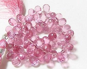 Pink Hydro Quartz Gemstone. Faceted Teardrop Briolettes. 8mm Semi Precious Gemstone. One Pair (55hq3).