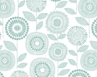 Organic Cotton Fabric, Cloud9 , Shape of Spring, Petal Print in Sage, by the yard